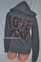 Victoria's Secret PINK Fashion Show Gray Leopard Bling Fur Hoodie Coat Jacket XS - $159.99