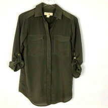 Michael Kors Women's Green Sheer Casual Button Top Shirt XS Front Pockets - $27.72