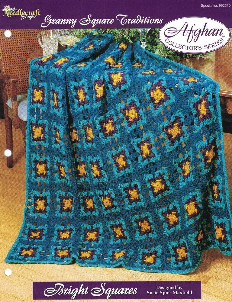 Bright Squares Granny Square Traditions Afghan Pattern The Needlecraft Shop TNS - $3.46