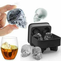 Silicone 3d Skull Ice Cube Tray Maker Round Ball Sphere Mold Whiskey Cocktails - $8.90
