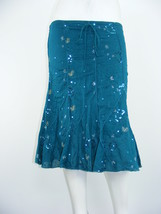HEART SOUL Skirt Blue Cotton LINED Embellished Panels Mid-Calf Sz S - W2... - $24.63