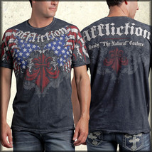 Affliction Patriot Randy Couture Flag Eagle UFC MMA Mens T-Shirt Black R... - $56.94