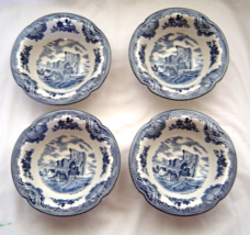 "Johnson Brothers Old Britain Castles Blue Set of 4 Fruit Berry Bowls 5.25"" - $24.99"