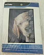"Bucilla Counted Cross Stitch Kit #WM45699 I Didn't Do It 5x7"" Guilty Puppy - $11.39"