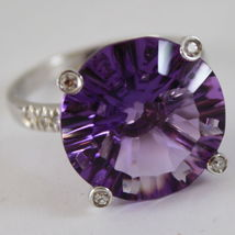 18K WHITE GOLD RING DIAMONDS ct0.21 AMETHYST ct11.50 AMAZING CUT, MADE IN ITALY image 6