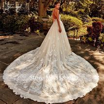 Shiny Elegant Applique Beading Sleeveless Backless Long Train A-Line Bridal Dres image 3