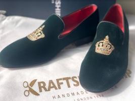 Handmade Men's Green Velvet Embroidered Slip Ons Loafer Shoes image 1