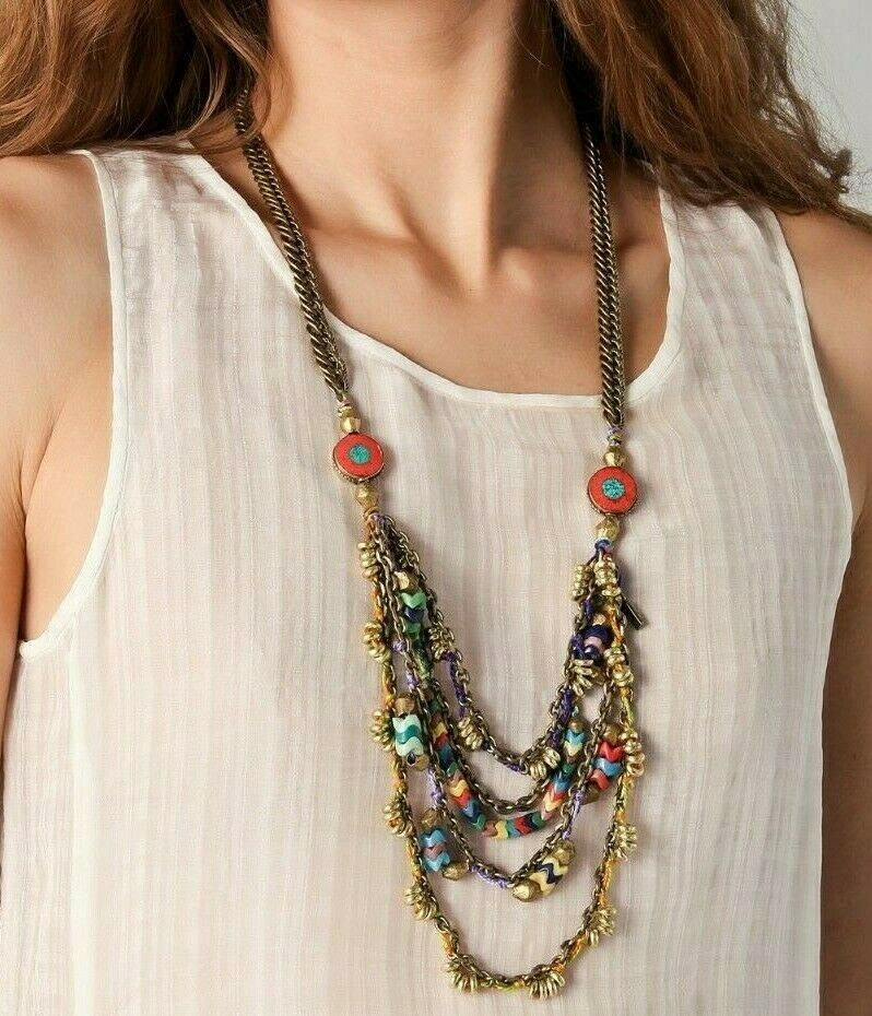 Vanessa Mooney Poppystack Necklace BOHO Multi Tier Strand Multicolor Beads image 4