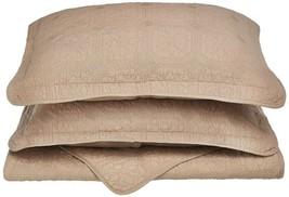 3-pc Taupe Full/Queen Superior Corrington Floral Stitched Quit & Pillow Shams - $89.05