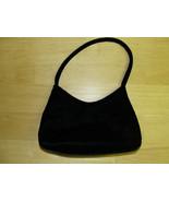 SMALL BLACK VELVET or VELOUR EVENING BAG PURSE - $13.85