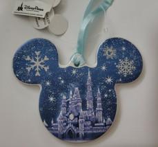 Disney Parks Christmas Holiday Snowflake Castle Mickey Ears Blue Ornamen... - $14.80