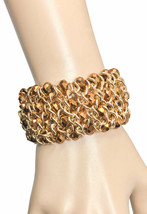 Bronze Czech Glass Faceted Beads Gold Tone Stretch Bangle Bracelet By INC - $30.40