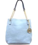 Michael Kors Powder Blue Leather Jet Set Gold Chain Purse Handbag Light ... - $180.00