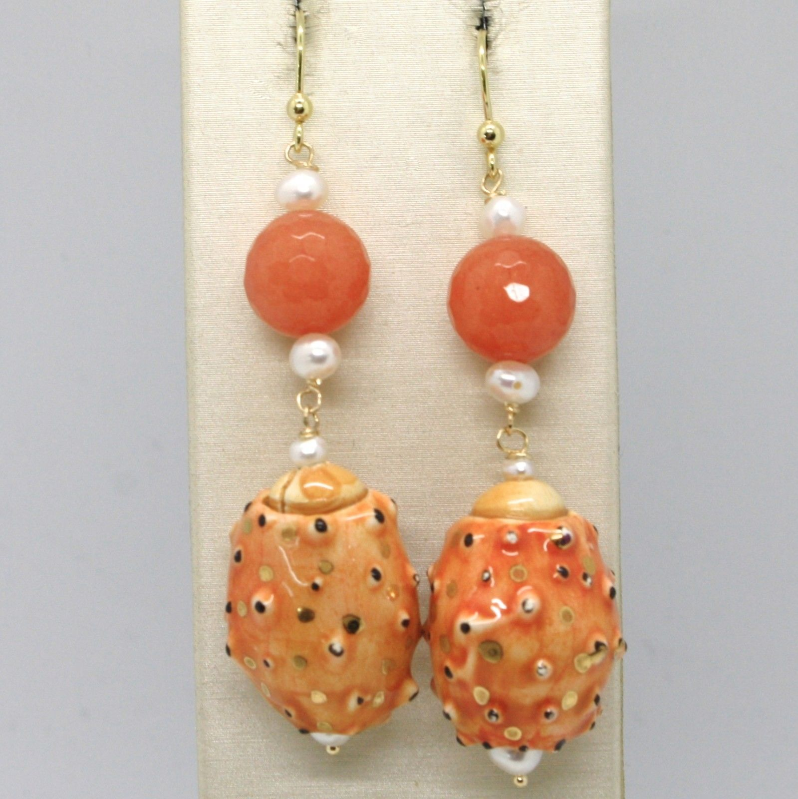 18K YELLOW GOLD EARRINGS ORANGE QUARTZ CERAMIC PRICKLY PEAR HAND PAINTED ITALY