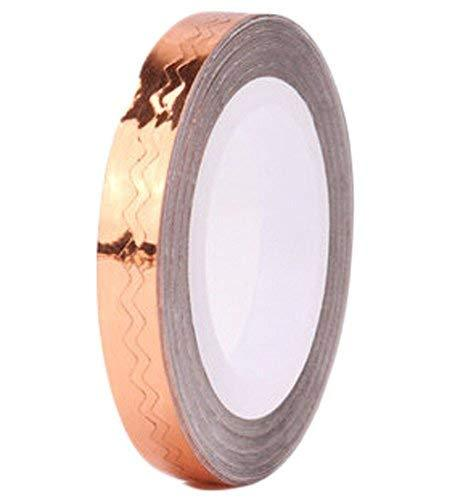 4 Rolls Wave Pattern Striping Tape Line Nail Art Decoration Sticker, Champagne