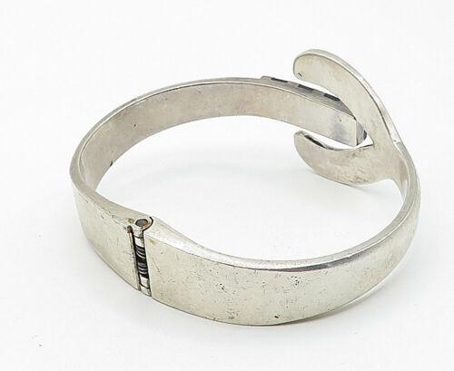 MEXICO 925 Silver - Vintage Black Onyx Striped Detail Bangle Bracelet - B4926