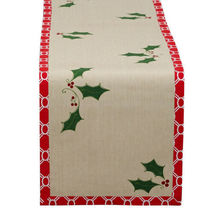 "14"" x 72"" 100% Cotton HOLLY JOLLY Christmas Table Runner - $33.99"