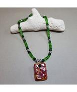 Green necklace, Asian pendant, Tibetan beads, Crackle Glass, Handmade, S... - $30.00