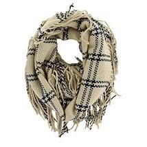 Women's Fashion Plaids Stylish Knit Warm Infinity Fringe Tassel Scarf (B... - £7.03 GBP