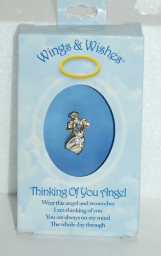 DM Merchandising Wings Wishes Thinking Angel WGW3-THINK Silver Gold Colored