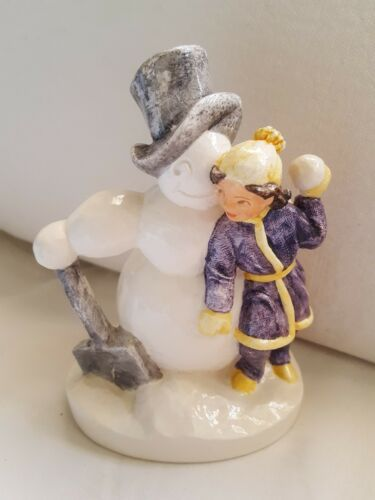 Primary image for P.W. BASTON SEBASTIAN GIRL W/ SNOWMAN NUMBERED SIGNED, Christmas decor figurine