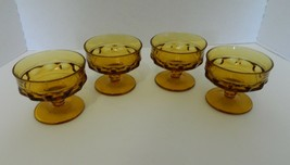 Kings Crown Thumb Print Amber Sherbet Dessert Dishes Lot of Four Indiana... - $19.75
