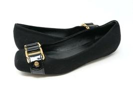 Tory Burch Martha Flannel Womens 7 M Black Ballet Flats Black Gold Chain Accent - $40.99