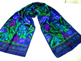 Women Neck Scarf Iris Floral Emerald Green Red Wine Blue Purple Color Si... - $9.85