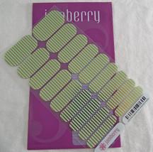 Jamberry Mint Green Gold Horizontal Pinstripe HS15 Nail Wrap Full Sheet - $14.30