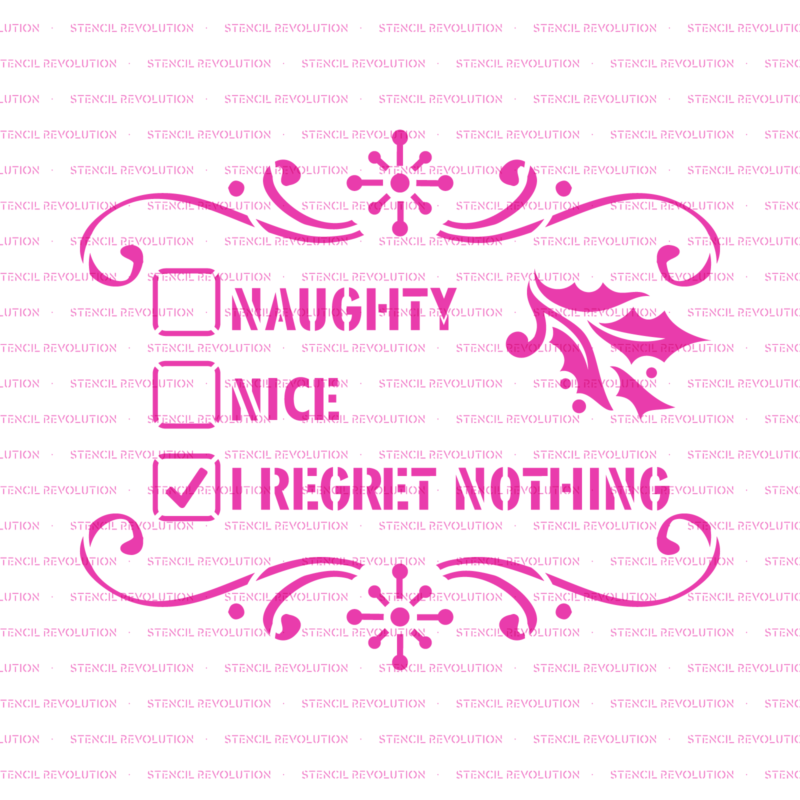 Naughty Or Nice Stencil - Reusable Stencils of Naughty Or Nice in Multiple Sizes