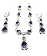 Hermosa Classic Fashion Jewelry Necklace Earrings Set Garnet Amethyst Mo... - $37.17