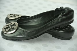 Tory Burch Reva Womens Sz 4.5 M Black Leather Ballet Flats EXCELLENT! - $49.49