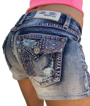 GRACE IN LA JEANS Shorts NWT Low Aztec Pastel Flap Embroidered Denim Jea... - $37.37+