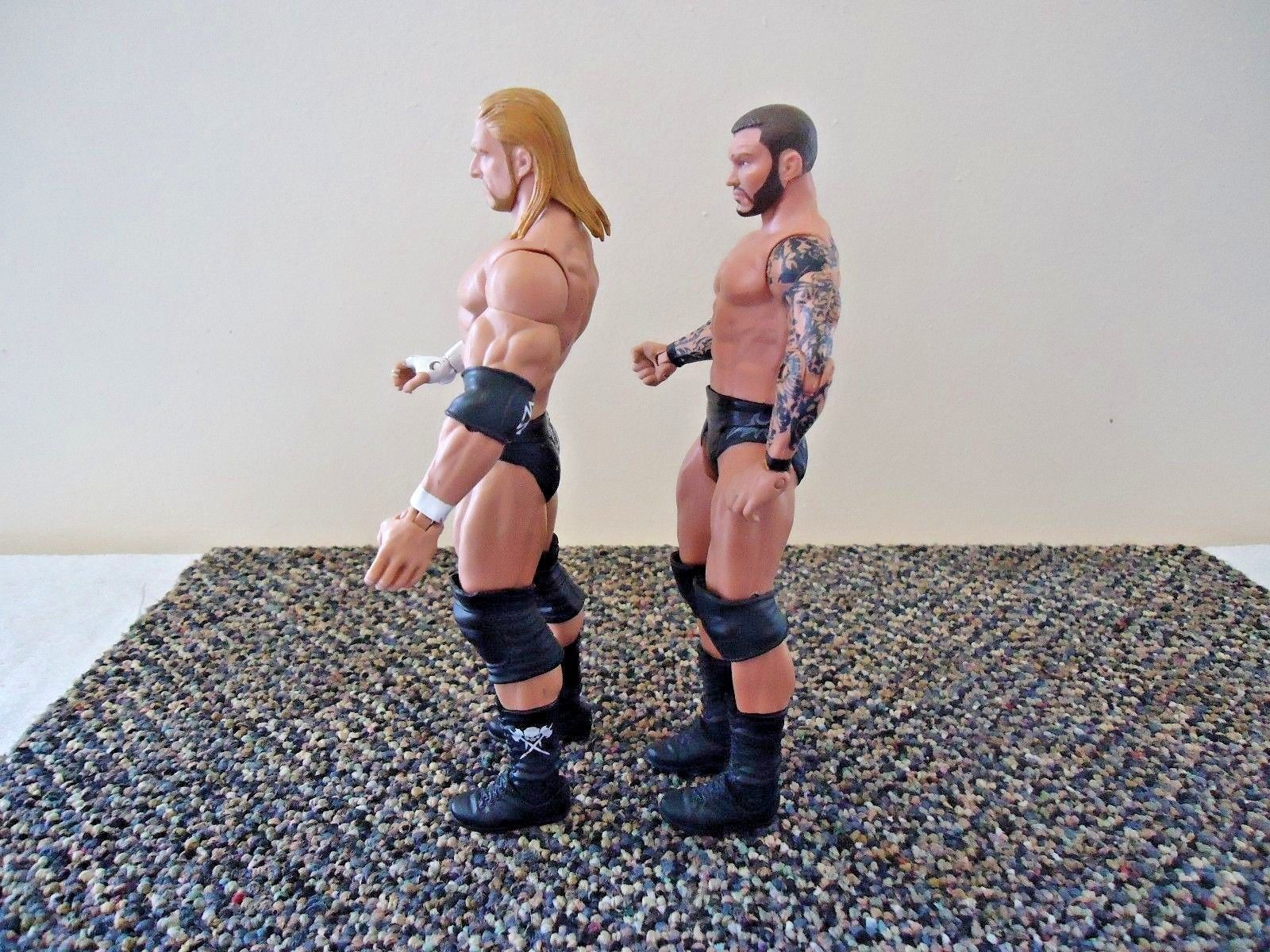 Lot Of 2 WWE Action Figures & Mini Clip On Belt 2010 Triple H & 2011 Randy Orton