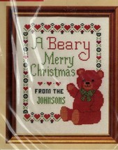 Vintage Creative Circle Counted Cross Stitch Kit A Beary Merry Christmas... - $23.51