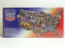 Road Trip America United States Shaped 1000 Piece Jigsaw Puzzle USA Made... - $26.72