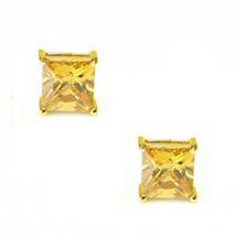 0.50-3.60 CT Canary Square Princess Cut Stud Earrings 14k Yellow Gold Screw Back - $43.06+