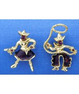 Cowboy Cowgirl Amethyst Stone Pin Set Rope Dancing Brooch - $29.99