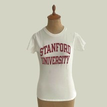 Vintage 1990s Women's Champion Stanford University Close Fit White T-Shi... - $13.98