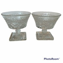 "Imperial CAPE COD Elegant Glass Clear Set 2 Pedestal Stem 4"" SHERBET - $14.01"