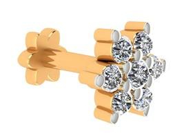 0.09ct Certified Natural Diamond 10k Yellow Hallmarked Gold Nose Pin Jew... - $232.56
