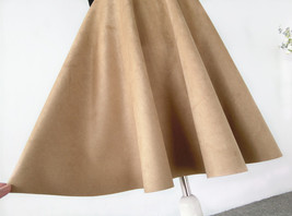 Women SUEDE Circle Skirt Autumn Winter SUEDE Midi Party Skirt, Camel Black Green image 7
