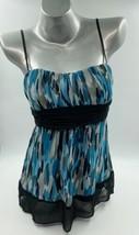 Trixxi Sleeveless Top Size Large Blue Black Gray Tie Back Spaghetti Stra... - $13.86