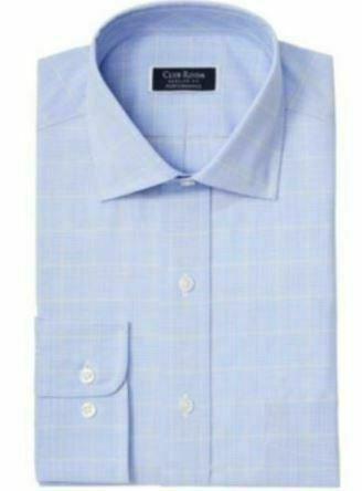 """Club Room Regular Fit Stretch Small Glen Plaid Dress Shirt Size 18X34-35"""""""