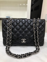 100% Authentic Chanel BLACK QUILTED LAMBSKIN JUMBO CLASSIC FLAP BAG SHW
