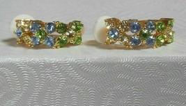 Vintage Joan Rivers Gold-tone Blue/Green Rhinestone Floral Clip-on Earrings - $45.00