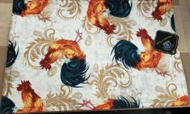 "SET OF 2 PRINTED FABRIC PLACEMATS, 12"" x 18"", ROOSTERS, w/red back,Royal... - $12.86"