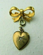 Vintage Ora Signed Gold tone heart shape pendant Brooch Pin - $12.00
