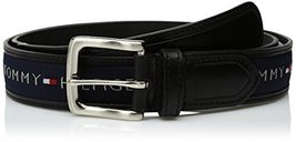 Tommy Hilfiger Men's Ribbon Inlay Belt, Black/Navy, 34