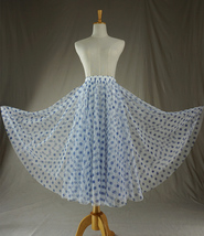 Polka Dot Tulle Midi Skirt High Waisted A-line Tulle Tutu Skirt Blue Dotted image 5